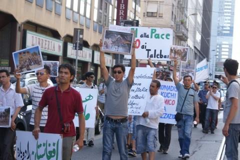 La manifestazione degli Hazara a Milano (Italia)