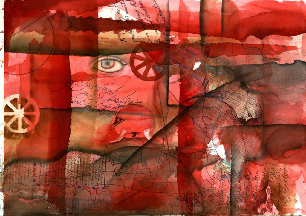 Mohsen Taasha Wahidi, The Reddish essence, acqurello su carta, 33x41cm, 2010