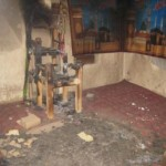 Inside a burnt mosque. Copies of Quran were burnt in fire