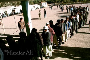 Lengthy queues are being observed in Bamyan and other Hazara populated areas. Unlike other parts of the country, These people are not facing any kind of security problem
