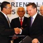 Immigration minister Chris Bowen (right) with Malaysia's home affairs minister Hishammuddin Hussein.
