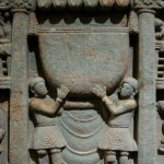 Kushans worshipping the Buddha's bowl. 2nd century Gandhara