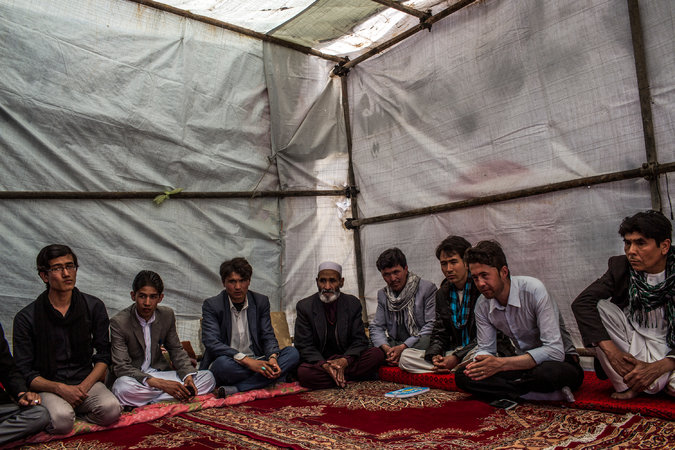Activists and relatives of abducted Hazaras gathered this week in Kabul, Afghanistan, as part of a protest against government inaction. Credit Bryan Denton for The New York Times