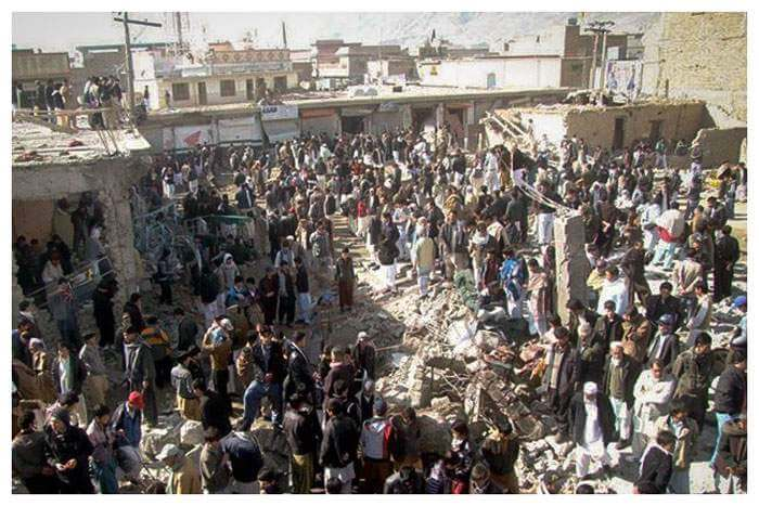 The market in Hazara Town in Pakistan in 2013 after a bomb killed more than 100 people, including Khadim's best friend.