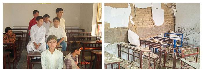 LEFT Khadim and classmates at school in Quetta. RIGHT Wreckage at Khadim's school after the bomb explosion at the nearby Hazara Town market.