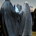 Afghan women attend a rally for a presidential candidate in the 2009 elections.