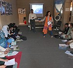 Boys and girls discuss gender violence, useful skills and other issues during a UNICEF-supported training in Nili, the provincial capital of Afghanistan's Daikundi province.© UNICEF/2010/Beard