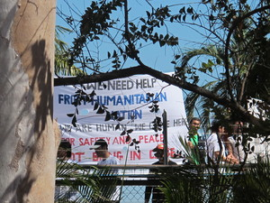 Hazara refugees stage a rooftop protest inside the Northern Immigration Detention Centre, Berrimah NT, on June 24. Photo by Emma Murphy