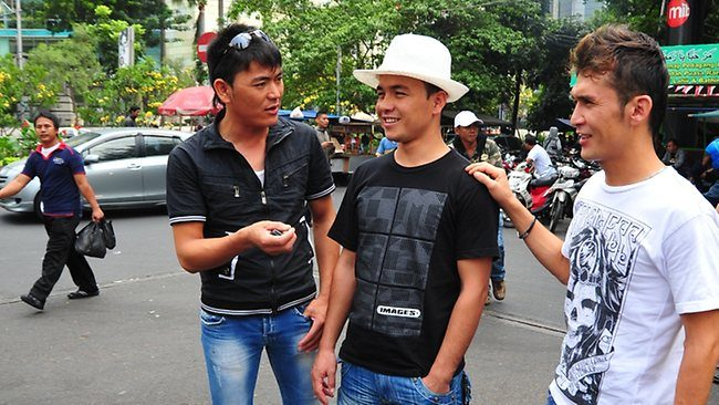 Hazaras Rohallah Gharibyar, left, Aman Karimi and Zakir Faiyazi, in Jakarta yesterday, hope to find a boat to Australia. Picture: Peter Alford Source: The Australian