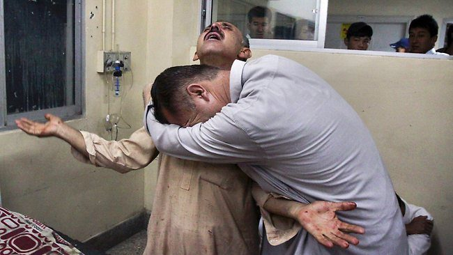 Pakistanis at Quetta hospital mourn the shooting death of a relative this week as Sunni extremists opened fire on Hazaras on a bus, the second such attack in weeks. Picture: AP Source: AP