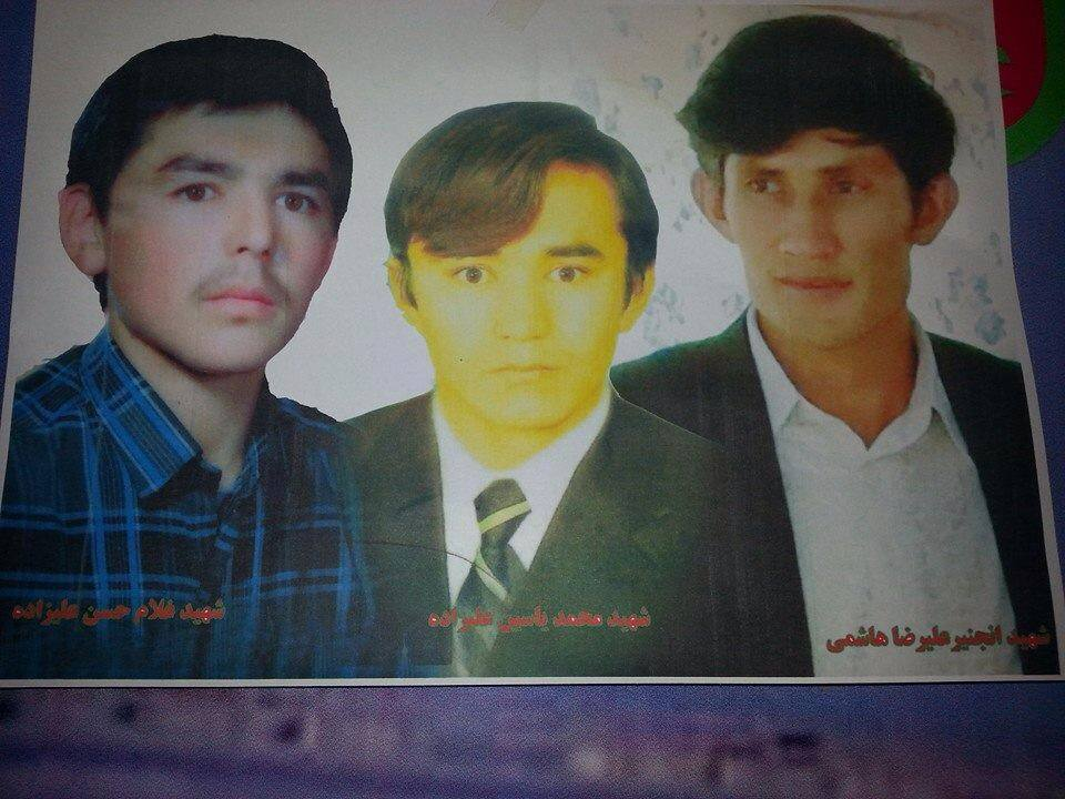From Left to Right: Ghulam Hassan Alizada, Mohammad Yasin Alizada and Engineer Ali Reza Hashimi were shot dead by The Taliban terrorists, on their way from Jaghori district to Ghazni city three days ago.