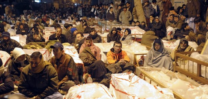 Refusing to bury their dead until justice is served: Hazaras with the corpses of the slain – January 12, 2013.